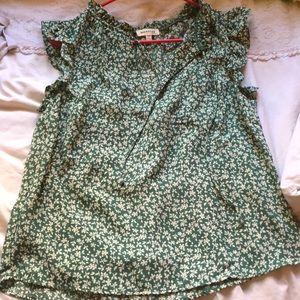 MONTEAU - green floral blouse